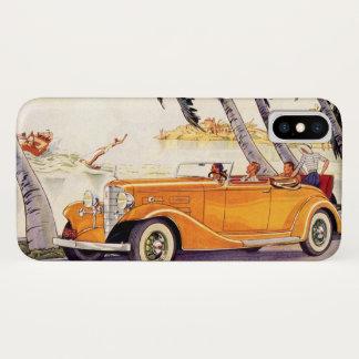 Coque iPhone X Vacances de famille vintages dans une voiture