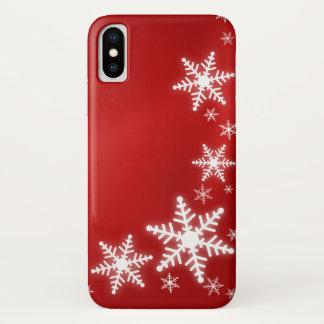 Coque iPhone X Vacances de rouge de flocons de neige