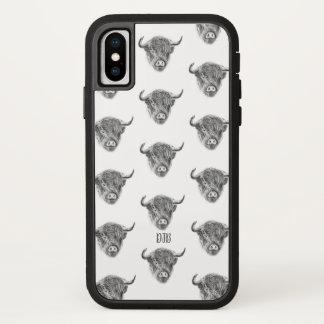 Coque iPhone X Vache des montagnes dispersée petite (blanche)