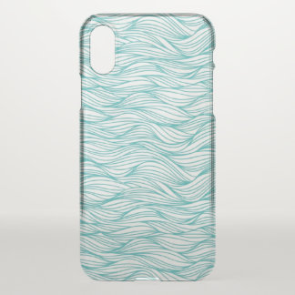 Coque iPhone X vagues d'eau bleu-clair de cas d'iPhone