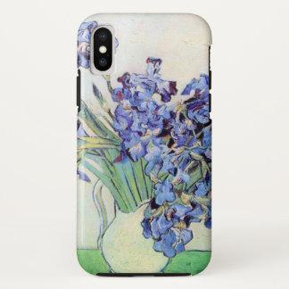 Coque iPhone X Vase à Van Gogh avec des iris, beaux-arts floraux