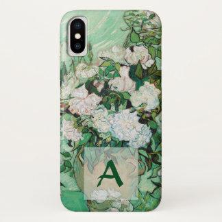 Coque iPhone X Vase à Van Gogh avec le monogramme vintage d'art