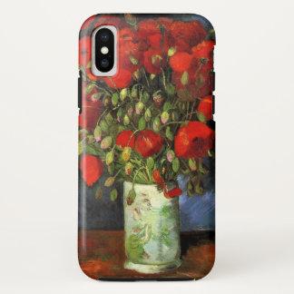 Coque iPhone X Vase à Van Gogh avec les pavots rouges, beaux-arts