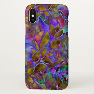 Coque iPhone X verre souillé d'abrégé sur floral cas de l'iPhone