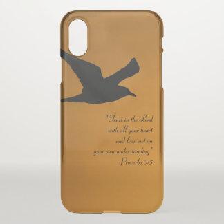 Coque iPhone X Vers jaune de bible de foi d'oiseau de ciel de