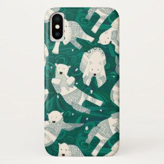 Coque iPhone X vert arctique d'ours blancs