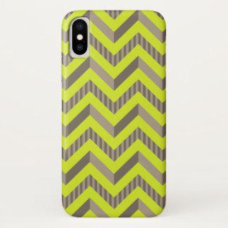 Coque iPhone X Vert de chaux et motif de Chevron barré par Brown