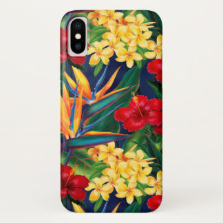 Coque iPhone X Verticale florale hawaïenne de paradis tropical