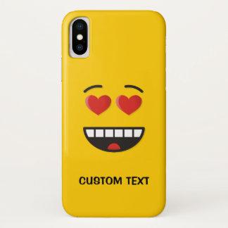 Coque iPhone X Visage de sourire avec les yeux en forme de coeur