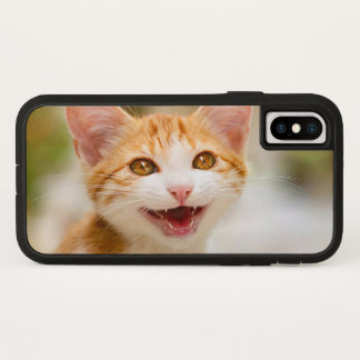 Coque iPhone X Visage de sourire mignon de chaton - photo drôle