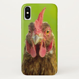 Coque iPhone X Visage drôle de poulet sur le vert