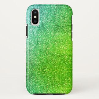 Coque iPhone X Vitalité colorée lumineuse florale verte au néon