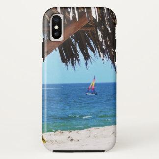 Coque iPhone X Voilier coloré de plage tropicale