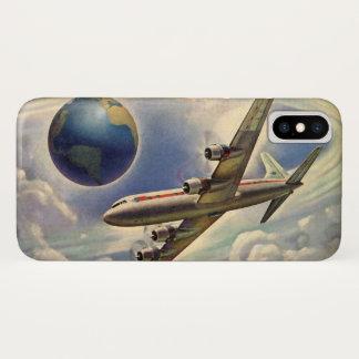 Coque iPhone X Vol vintage d'avion autour du monde en nuages