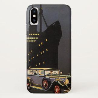 Coque iPhone X Voyage vintage, bateau de croisière et voiture