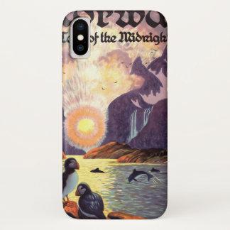 Coque iPhone X Voyage vintage, terre de fjord de la Norvège de