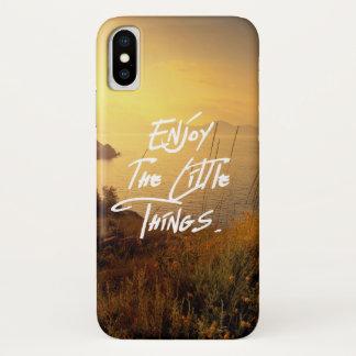 Coque iPhone X Vue de mer de coucher du soleil de citation