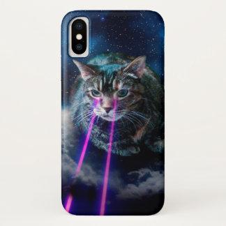 Coque iPhone X Yeux de laser de chat - chats dans l'espace