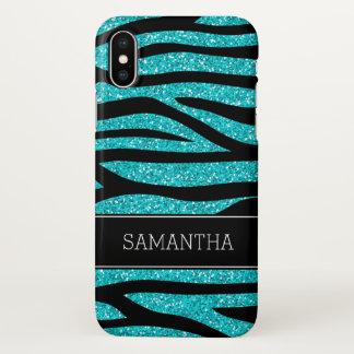Coque iPhone X Zèbre bleu turquoise de parties scintillantes de