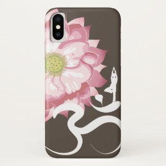 Coque iPhone X Zen blanc de symbole de l'OM de Lotus de yoga rose
