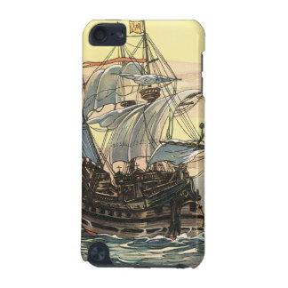Coque iPod Touch 5G Bateau de pirate vintage, navigation de galion sur