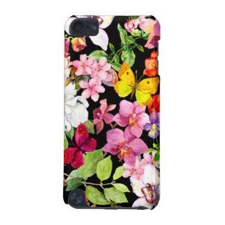 Coque iPod Touch 5G Beau, floral, peint à la main, fleurs, noir, backg