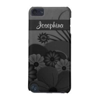Coque iPod Touch 5G Cas floral du contact 5G d'iPod de ketmie noire