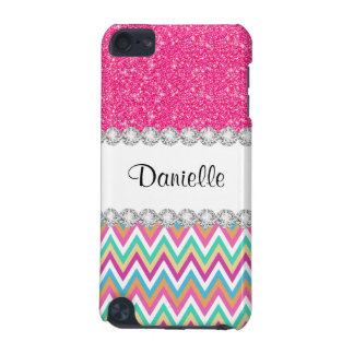 Coque iPod Touch 5G Cas rose de contact de Chevron 5G iPod de pastels