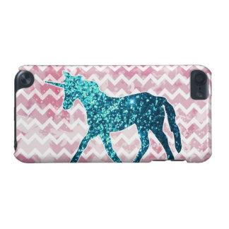 Coque iPod Touch 5G Chevron rose, licorne bleue de parties