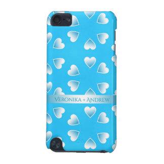 Coque iPod Touch 5G Coeurs bleus assez petits. Ajoutez votre propre