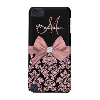Coque iPod Touch 5G Damassé rose de noir de parties scintillantes