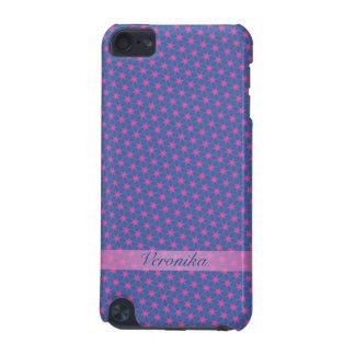 Coque iPod Touch 5G Étoiles de rose sur un arrière - plan bleu
