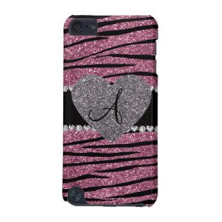 Coque iPod Touch 5G Le zèbre rose brumeux de parties scintillantes de