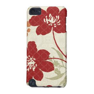 Coque iPod Touch 5G Ombres florales en rouge et orange