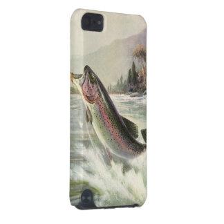 Coque iPod Touch 5G Poissons vintages de truite arc-en-ciel, pêche de