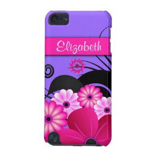 Coque iPod Touch 5G Roses indien fuchsia et ketmie florale pourpre