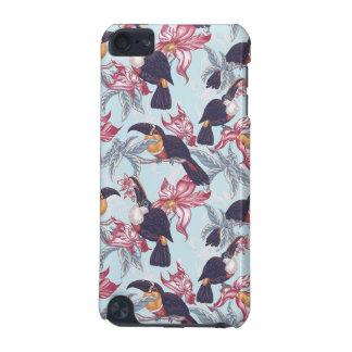 Coque iPod Touch 5G Toucans avec les fleurs exotiques