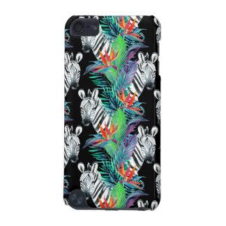 Coque iPod Touch 5G Zèbre et motif de fleurs exotique
