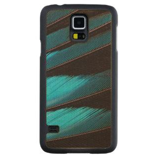 Coque Mince En Érable Galaxy S5 Abrégé sur Bleu-Gonflé plume de rouleau
