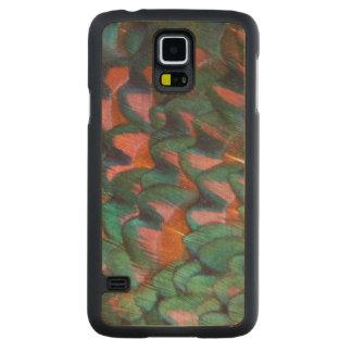 Coque Mince En Érable Galaxy S5 Abrégé sur coloré plumes de faisan