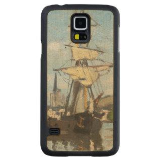 Coque Mince En Érable Galaxy S5 Bateaux de Claude Monet | montant sur la Seine à