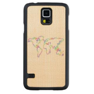 Coque Mince En Érable Galaxy S5 Carte colorée du monde