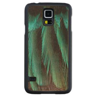 Coque Mince En Érable Galaxy S5 Conception bleue et noire de plume