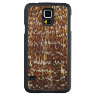 Coque Mince En Érable Galaxy S5 Conception de plume de plume de cou