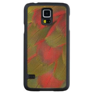Coque Mince En Érable Galaxy S5 Conception de plume de sein d'ara