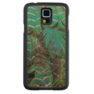 Coque Mince En Érable Galaxy S5 Conception verte de plume de paon