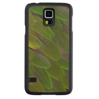 Coque Mince En Érable Galaxy S5 Conception verte de plume de perroquet de caïque