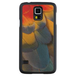 Coque Mince En Érable Galaxy S5 Fermez-vous des plumes d'ara