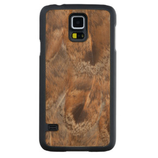 Coque Mince En Érable Galaxy S5 Fermez-vous des plumes de Brown
