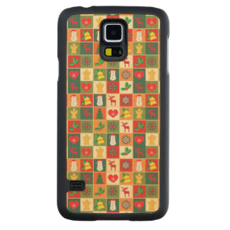 Coque Mince En Érable Galaxy S5 Grand motif de Noël